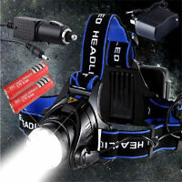 6000LM XM-L T6 LED Headlamp Headlight Zoomable 3 Mode + 2x Battery +Charger