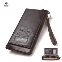 RFID Blocking Men Biker Rocker Long Genuine Leather Zipper Wallet w/ Purse Chain