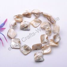 Wholesale 15-25MM White Shell MOP Freeform Shape Gemstone Loose Beads Strand 15""