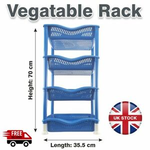 4 Tier Vegetable Rack Fruit Storage Basket Kitchen Unit Utility Stacking Stand