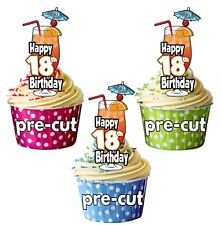 18th Birthday Cocktail Glass - Precut Edible Cupcake Toppers Cake Decorations