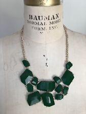 Vintage Emerald Green Resin Geometric Shape Bibb Necklace