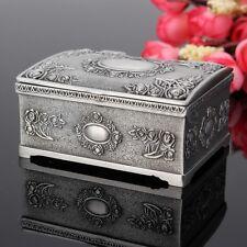 Vintage Jewelry Box Case Silver Necklace Ring Bracelet Storage Organizer Gift