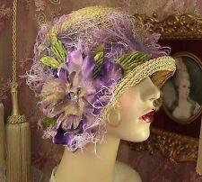 1920'S VINTAGE TAN & PURPLE ASYMMETRICAL OMBRE FLOWER FEATHER CLOCHE FLAPPER HAT