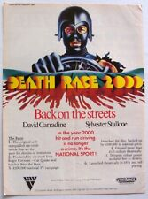 DEATH RACE 2000 1983 POSTER ADVERT David Carradine Sylvester Stallone