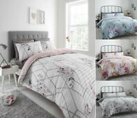 Luxuries FLOWER FLORAL SEERSUCKER Ruffle Pleated Duvet Cover+Pillow Case Bed Set