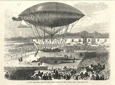 VINTAGE WOODCUT PRINT - NEW BALLOON DEPARTURE FROM PARIS ON THE TRIAL TRIP