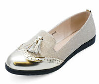 LADIES SMART GOLD SLIP-ON LOAFERS CASUAL WORK TASSLE COMFY FLAT SHOES SIZES 3-8