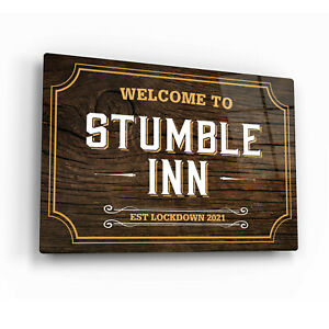 Personalised Welcome Bar Sign Printed onto Gloss Metal. Traditional Pub/Inn Sign