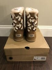 New UGG Kids Girls Size 4 Bailey Bow II Striped Boot Chestnut CHE