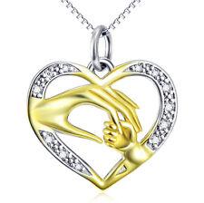 Main Maman u Enfant plaqué or dans le coeur Cristaux blanc Chaîne Pendentif