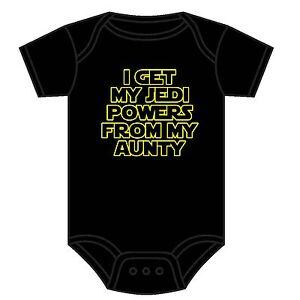 STAR WARS BABY GROW GET MY JEDI POWERS FROM MY AUNTY SCI-FI BABY VEST 0-18 M NEW