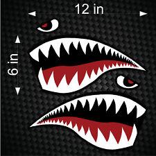 """Pair of 12"""" Fighter Flying Tigers Shark Teeth Mouth w/ Eye Die-cut Vinyl Decals"""