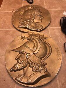 Vintage Wall Plaque Roman Mars Minerva Aluminum Round Painted Pair
