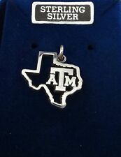 Sterling Silver 15x17mm Texas A&M University ATM Cut out Texas shape Aggie Charm