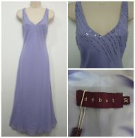 Debut Debenhams Lilac Hand Embellished Maxi Slip Dress Size 10 Cruise Cocktail