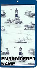 """40"""" x 72"""" Oversized Name Embroidered Beach / Pool Towel With Lighthouse & Boat"""