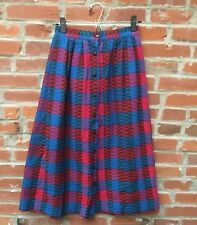 Vintage Red Blue Plaid Check Button Front Skirt Womens Wool Blend (1564)