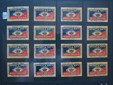 16 VARIOUS BRYANT MAY CROWN SAFETY MATCH BOX 50 LABELS 1950 ROAD FIRE SAFETY No2