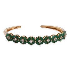 "Yellow Gold Silver Cuff Bracelet Bangle Emerald White Topaz Size 7.25"" Ct 6.8"