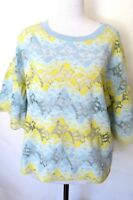 Zara Blue yellow  color  Floral  Lace Short Sleeve Top Blouse  Size L