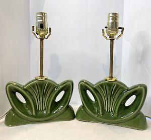 Vintage Green Ceramic Modernist Table Lamp Set Mid Century Modern WORKING 50's