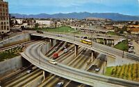 Los Angeles CA 1950s Station Wagon & City Bus Criss-Cross on Harbor Freeway~PC