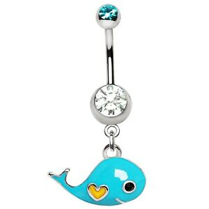 """LIGHT BLUE WHALE BELLY BUTTON RING STEEL NAVEL PIERCING JEWELRY (14G 3/8"""")"""