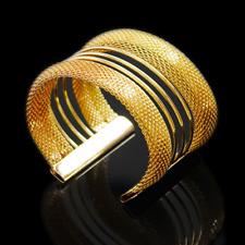 Punk Women Gold Hollow Mesh Net Bangle Cuff Bracelet Wristband Vintage Jewelry