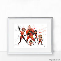 THE INCREDIBLES Print Poster Watercolour Framed Canvas Wall Art Disney Art gift