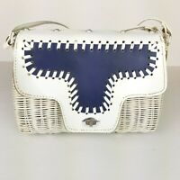 Vintage Styled By Bounty Wicker Purse Hand Bag white navy silver retro basket