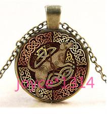 Vintage Celtic Dog Cabochon bronze Glass Chain Pendant Necklace TS-4387