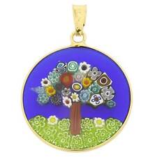 "GlassOfVenice Murano Glass Millefiori Pendant ""Tree of Life"" in Gold-Plated Fram"