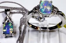 Ethiopian Welo Opal Ring and Pendant With Chain (20 in) (Size 8) TGW 3.02 Cts