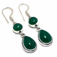 "Green Onyx Gemstone Handmade Ethnic Style Jewelry Earring 1.97"" VJ-9007"