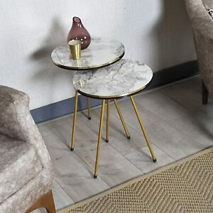 Modern Gray Marble Look Round Accent Side, Gold Metal End Table