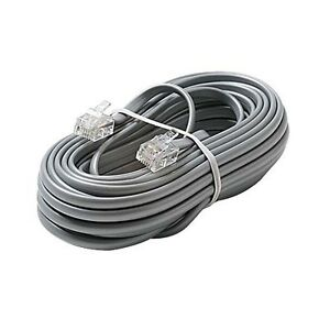 Eagle 100' FT Phone Cord Cable 4 Wire Silver Satin Modular RJ11 Plug Ends 6P4C