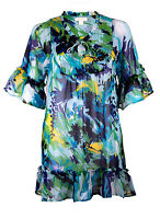 BRAND NEW LADIES EX MONSOON BLUE/GREEN SHEER GYPSY BLOUSE SHIRT SIZES 8-18