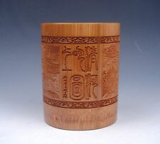 Solid Bamboo Pen Brush Holder Pot Chinese Ancient Bazaar Engraved Home Decor