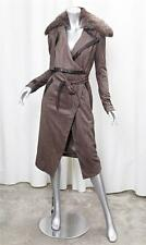 KYMERAH Brown Detachable Fur Collar Long Tie Front PORTIA JACKET sz. MED NEW