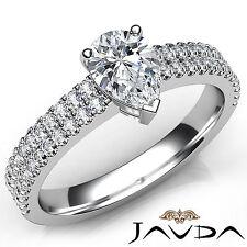 Pear Cut U Shape Prong Set Diamond Engagement Ring GIA H VS1 18k White Gold 1Ct