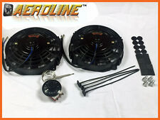 "7"" 80w AeroLine Electric Radiator / Intercooler Fans + Capillary Thermostat x2"