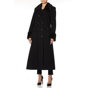 De La Creme - Womens Military Faux Fur Trim Maxi Coat
