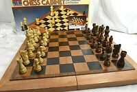Vintage Pavilion Tapered Wood Chess Cabinet Case With Wood Chessman & Checkers