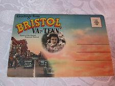 Vintage Postcard booklet Bristol VA Tenn Downtown Coca Cola sign Drug store