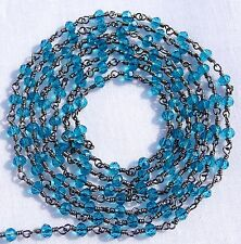 10 Feet London Blue Topaz Hydro Black Plated Wire Wrapped Rosary Beaded Chain.