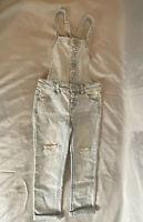 NWOT Girl's Cat & Jack Light Wash Distressed Denim Overalls Jeans Size XS 4-5