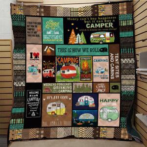 2020 New Camping Caravan Quilt Print All Season Quilt Warm Blanket Home Top