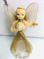 Vintage Gold Mesh Christmas Angel Tree Topper Ornament Doll Japan