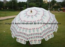 Indian Handmade Beautiful Rose Printed Garden Umbrella Patio Beach Parasols Deco